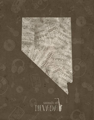 Rock And Roll Royalty-Free and Rights-Managed Images - Nevada Map Music Notes 3 by Bekim Art