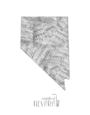 Rock And Roll Royalty-Free and Rights-Managed Images - Nevada Map Music Notes by Bekim Art