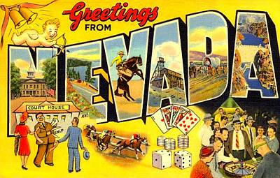 Digital Art - Nevada Postcard by Marianne Dow