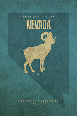 Las Vegas Mixed Media - Nevada State Facts Minimalist Movie Poster Art by Design Turnpike