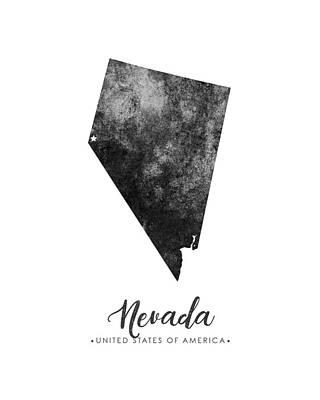 Geography Mixed Media - Nevada State Map Art - Grunge Silhouette by Studio Grafiikka