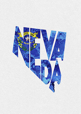 Sisters Digital Art - Nevada Typographic Map Flag by Inspirowl Design
