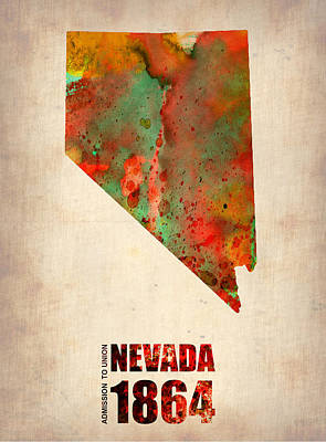 Nevada Watercolor Map Art Print by Naxart Studio