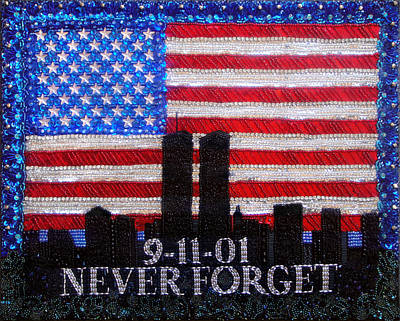 Never Forget 9.11.01. Bead Embroidery  Original by Sofia Metal Queen