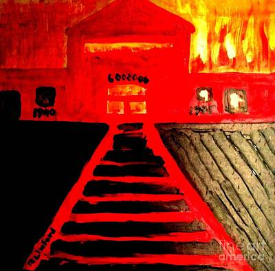 Painting - Never Forget Auschwitz And The Number 6,000,000, 6,000,000 Reasons Why Israel Deserves Its Own State by Richard W Linford