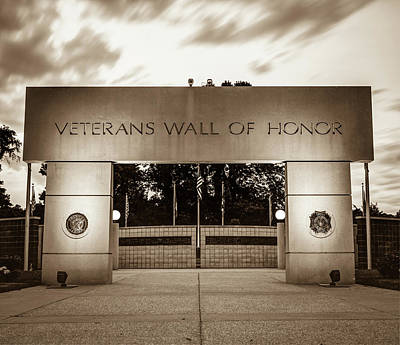 Photograph - Never Forget - Veterans Wall Of Honor - Bella Vista Arkansas - Sepia by Gregory Ballos