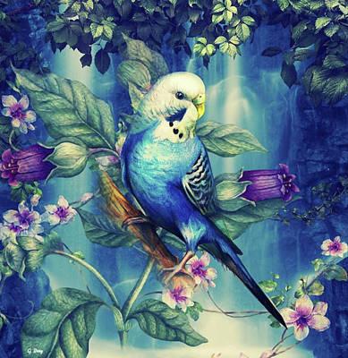 Parakeet Mixed Media - Never Heard A Singer Lovely As A Bird 02 by G Berry