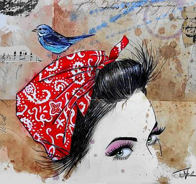 Bluebird Drawing - Never Sure When by Loui Jover