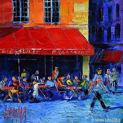 Cityscape Photograph - New! - café Gargouille 25x25 Cm by Mona Edulesco