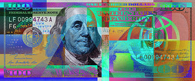 New 2009 Series Pop Art Colorized Us One Hundred Dollar Bill  No. 2 Art Print