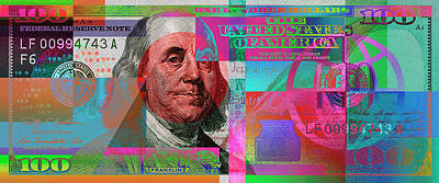 New 2009 Series Pop Art Colorized Us One Hundred Dollar Bill  No. 3 Art Print