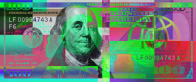 New 2009 Series Pop Art Colorized Us One Hundred Dollar Bill  No. 4 Art Print