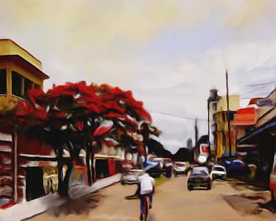 Flamboyant Tree Painting - New Amsterdam Guyana by James  Mingo