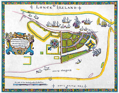 Netherland Photograph - New Amsterdam Map, 1661 by Granger