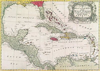 Cartography Drawing - New And Accurate Map Of The West Indies by American School