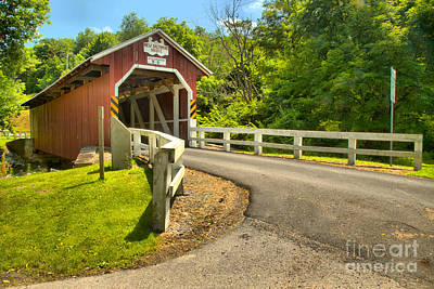 Photograph - New Baltimore Covered Bridge Around The Bend by Adam Jewell
