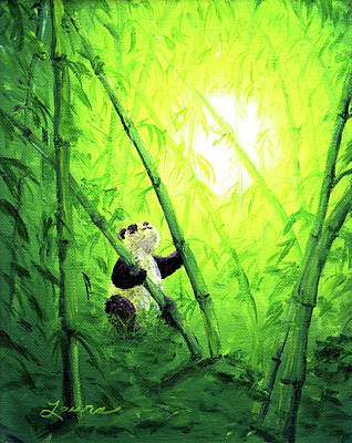 Panda Bear Painting - New Bamboo Leaves by Laura Iverson