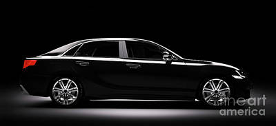 Photograph - New Black Metallic Sedan Car In Spotlight by Michal Bednarek
