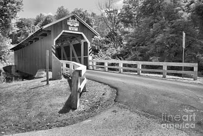 Photograph - New Blatimore Covered Bidge Around The Bend Black And White by Adam Jewell