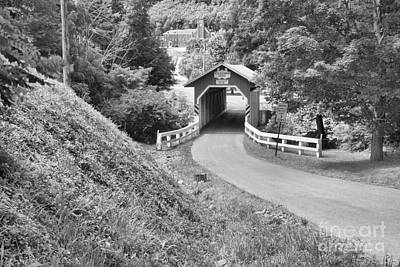 Photograph - New Blatimore Covered Bridge Through The Forest Black And White by Adam Jewell