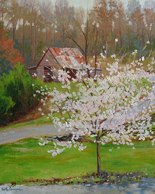 Ditch Painting - New Blossoms Old Barn by Keith Burgess