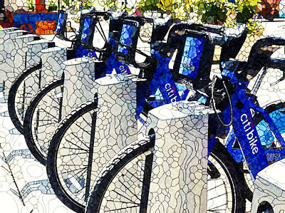 Painting - New Blue Citi Bikes by Jeelan Clark