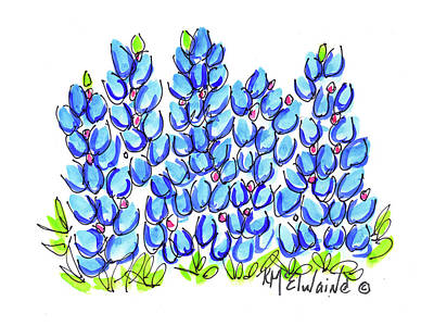 New Bluebonnet 2016 Watercolor Painting By Kmcelwaine Art Print by Kathleen McElwaine