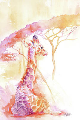 Painting - New Born Giraffe by Stephie Butler