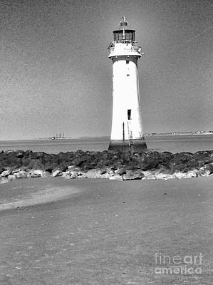 Photograph - New Brighton Lighthouse In Monotones by Joan-Violet Stretch