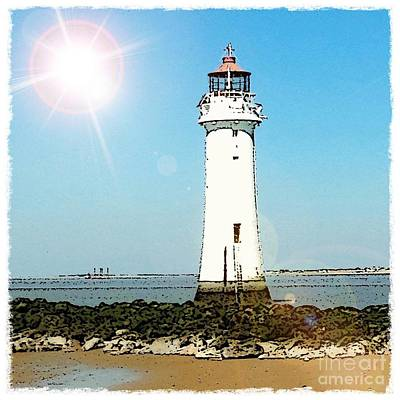 Mixed Media - New Brighton Lighthouse by Joan-Violet Stretch