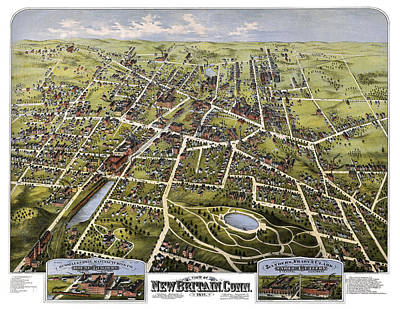 Photograph - Antique Map Of New Britain Connecticut 1875  by Phil Cardamone