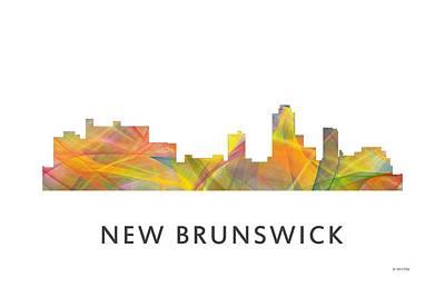 Nj Digital Art - New Brunswick  New Jersey Skyline by Marlene Watson