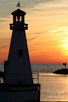 New Buffalo Lighthouse At Sunset Art Print by Christopher Purcell
