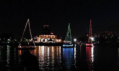 Photograph - New Canal Lighthouse Lights On The Lake Boat Parade by Deborah Lacoste
