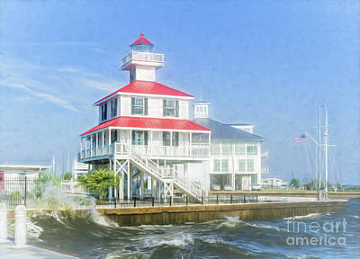Photograph - New Canal Lighthouse - Watercolor  by Kathleen K Parker