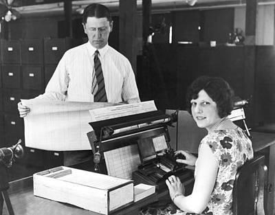 New Census Bureau Machines Art Print by Underwood Archives