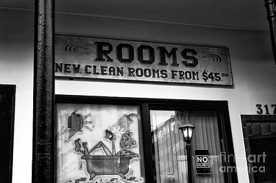 For Rent Photograph - New Clean Rooms Mono by John Rizzuto