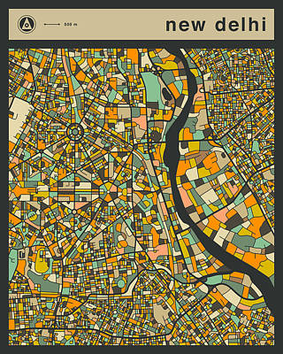 Delhi Digital Art - New Delhi City Map by Jazzberry Blue