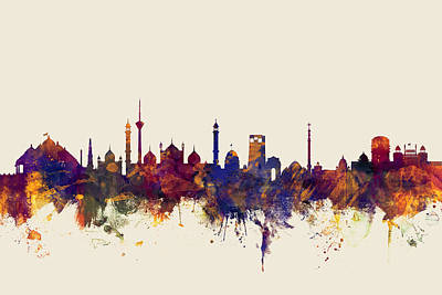 New Delhi India Skyline Art Print