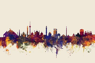 Watercolour Wall Art - Digital Art - New Delhi India Skyline by Michael Tompsett