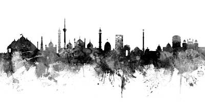 Digital Art - New Delhi India Skyline Panoramic by Michael Tompsett