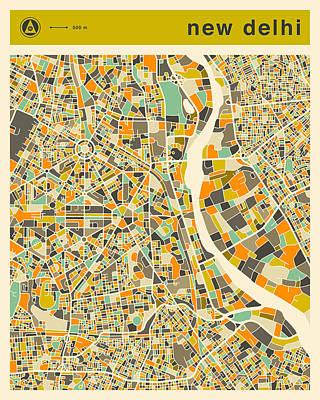 Delhi Digital Art - New Delhi Map 2 by Jazzberry Blue