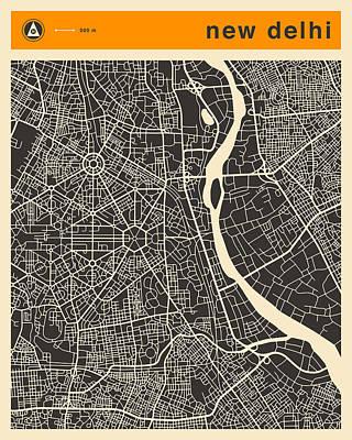 Delhi Digital Art - New Delhi Map by Jazzberry Blue