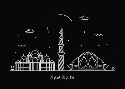 Drawing - New Delhi Skyline Travel Poster by Inspirowl Design