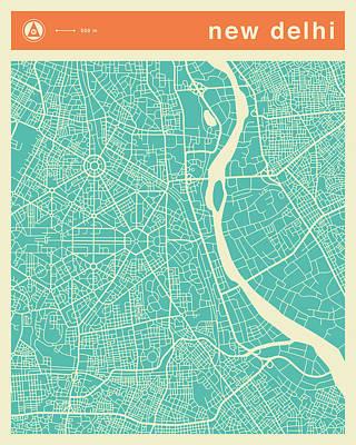 Delhi Digital Art - New Delhi Street Map by Jazzberry Blue