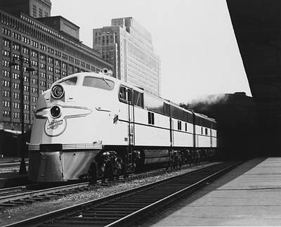 Photograph - New Diesel Engine At Chicago Passenger Terminal - 1969 by Chicago and North Western Historical Society