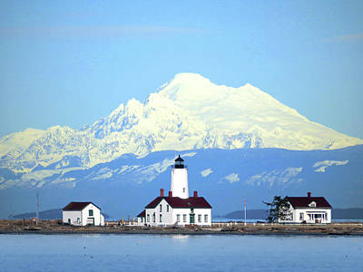 Photograph - New Dungeness Lighthouse - Mount Baker by Marie Jamieson