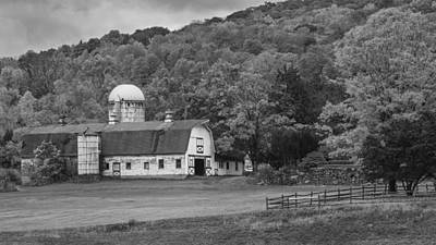 New England Barn Autumn Bw Art Print by Bill Wakeley