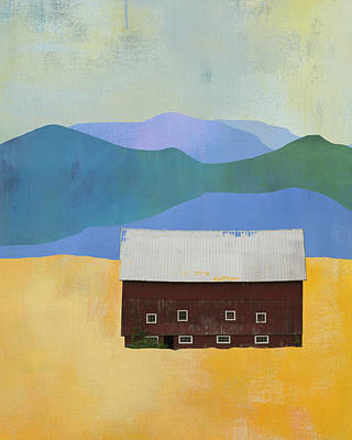 Mountain Valley Mixed Media - New England Barn Landscape by Jacquie Gouveia
