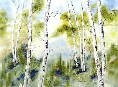 Painting - New England Birches by Diane Kirk